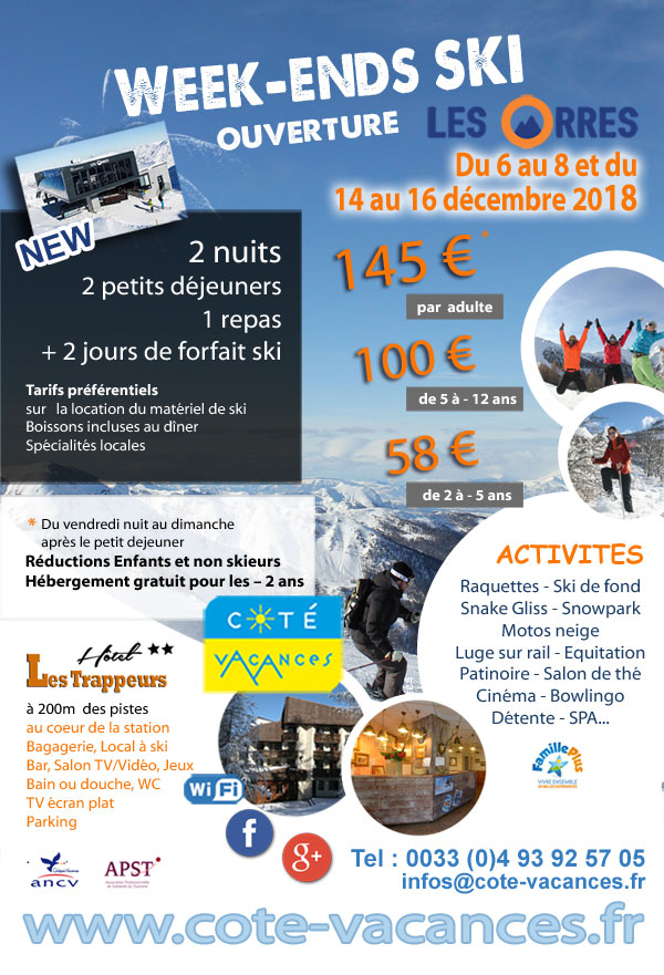 Super Promotions week-end ski  décembre 2018 - Les Orres
