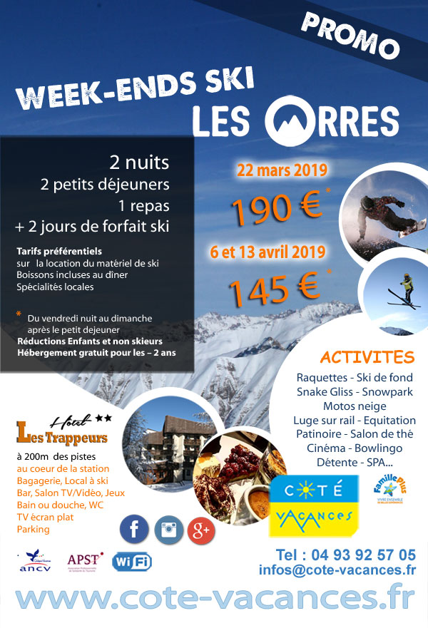 Super Promotions Week-ends  ski 2019 - Les Orres