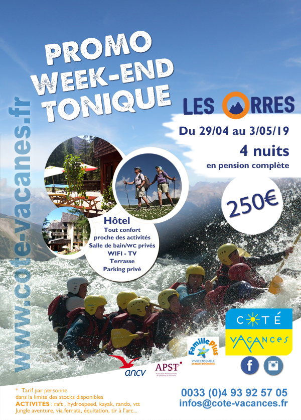 Super Promotions Week-end raft rando le 29/04/2019- Les Orres