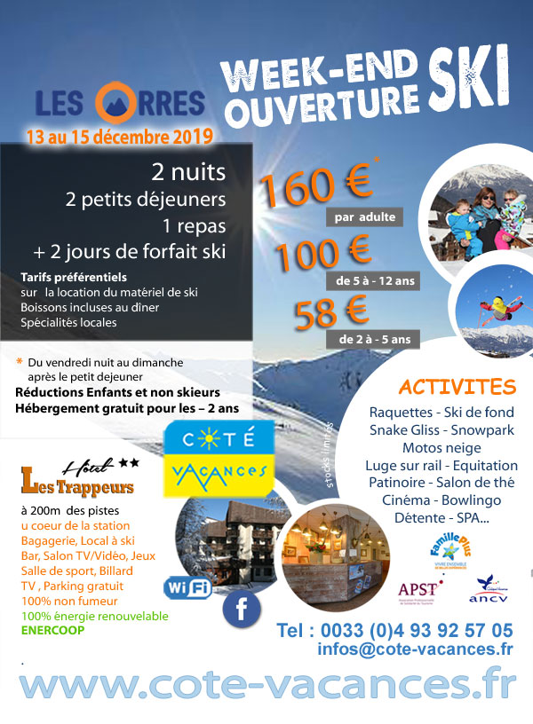 Super Promotions week-end ski  décembre 2019 - Les Orres