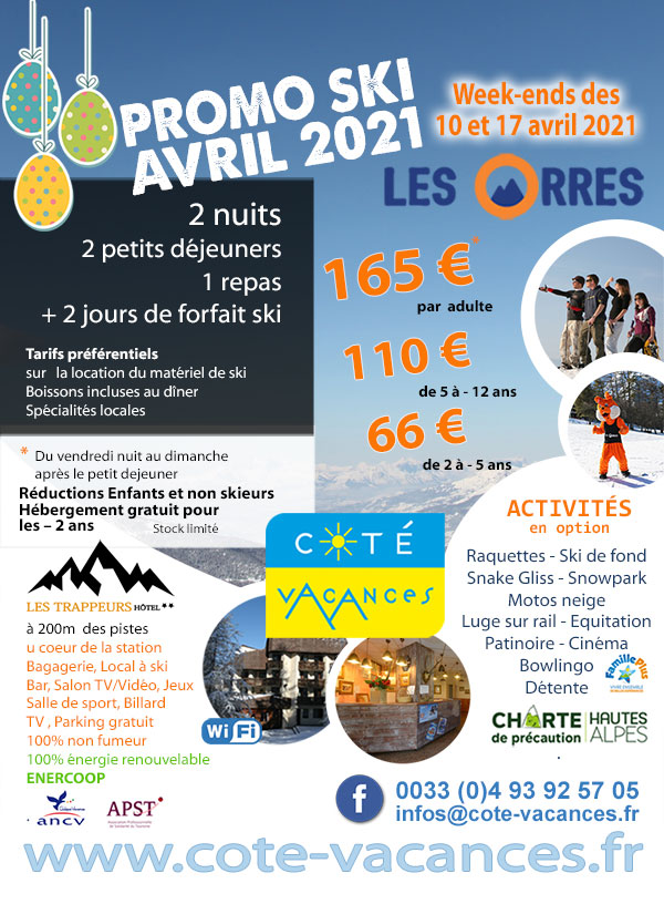 Super Promotions week-ends ski Avril 2021 - Les Orres